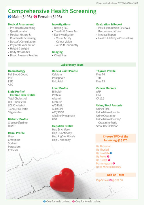 Comprehensive health screening package Lifescan Medical Centre